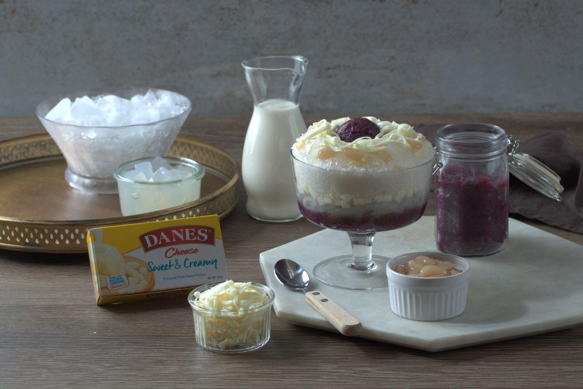 Ube-Cheese con Yelo with Danes Cheese Sweet & Creamy